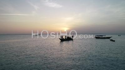 Fishing Boat At Sunset, Zanzibar, Tanzania - Video Drone Footage
