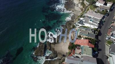 Flyover Along Coastline Of Laguna Beach, California - Video Drone Footage