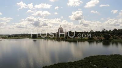 Lake And Yamoussoukro Basilica - Video Drone Footage