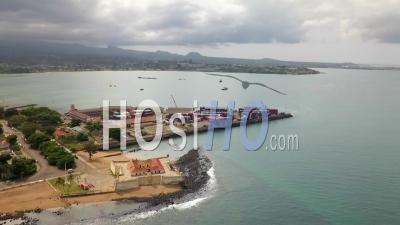 Sao Tome's Bay Port And Fort Side - Video Drone Footage