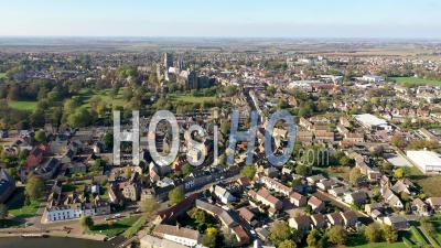 Ely Town And River Filmed By Drone Point Of View