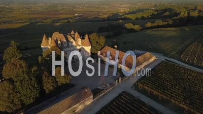 Aerial View Castle Of Monbazillac, Historical Monument, Sweet Botrytized Wines Have Been Made In Monbazillac