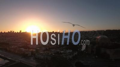 Aerial View Of San Francisco At Sunset - Video Drone Footage