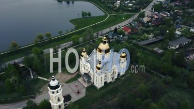 Orthodox Church In Dolyna, Ivano-Frankivsk Oblast, Ukraine, Video Drone Footage