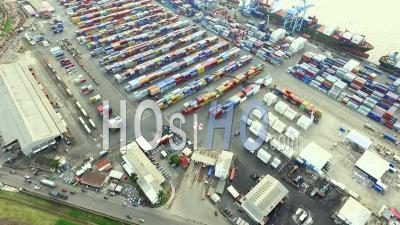 Over Douala's Port Containers And Boats - Video Drone Footage