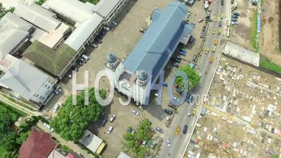 Douala Akwa Cathedral, Cemetery And Port - Video Drone Footage