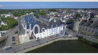 Flying Over The City Of Pont Abbe, Brittany, France - Video Drone Footage