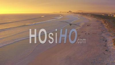 Sunset Beach With Blouberg In Background - Drone Point Of View