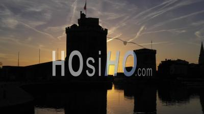 La Rochelle Vieux-Port Towers At Sunset - Video Drone Footage