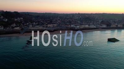 Arromanches Les Bains At Sunset, Calvados, Normandy - Video Drone Footage