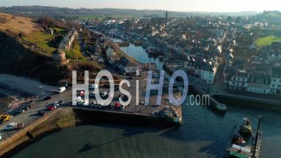 Port En Bessin In Normandy, Calvados - Video Drone Footage