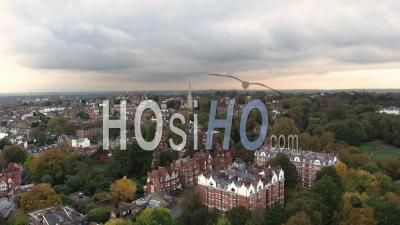 Aerial Dolly View Of Hampstead, A Residential Victorian Village In North London - Video Drone Footage