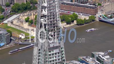 The Shard, River Thames And Tower Bridge, London Filmed By Helicopter