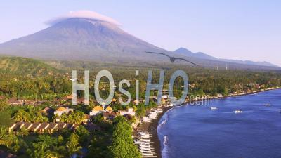 Coastal View Of Mount Agung - Video Drone Footage