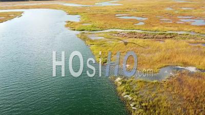 Vue Aérienne Sur Les Vastes Tourbières Le Long De La Rivière Nonesuch Près De Portland, Maine, Nouvelle-Angleterre - Vidéo Drone