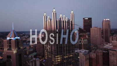 Night Aerial View Over Pittsburgh, Pennsylvania Downtown Skyline - Video Drone Footage