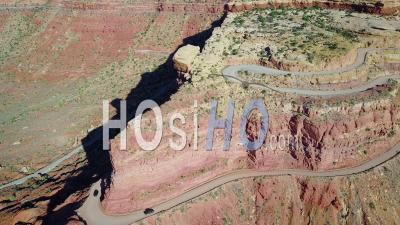 Cars Travel On The Dangerous Mountain Road Of Moki Dugway, New Mexico, Desert Southwest - Video Drone Footage