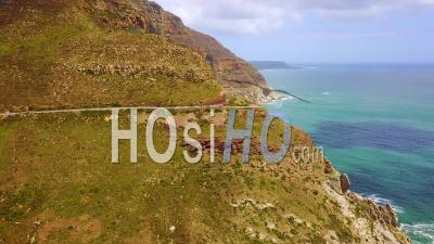 Aerial View Of The Beautiful Coastline And Narrow Roads South Of Cape Town, South Africa - Video Drone Footage
