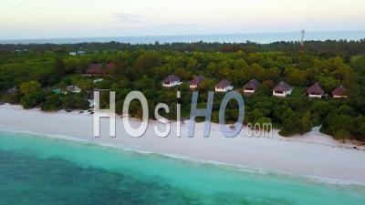 Aerial View Over Tropical Resort Cabins And Hotel Rooms In Tanzania, Africa.