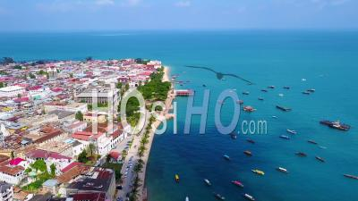 Aerial View Over Downtown Stonetown Zanzibar, Tanzania, Africa.