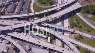 Aerial View Over A Vast Freeway Interchange Near Los Angeles, California - Video Drone Footage