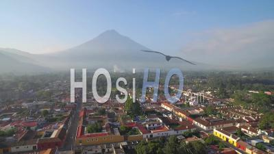 Aerial View Over The Colonial Central American City Of Antigua, Guatemala - Video Drone Footage