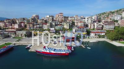 Aerial View Of The Resort Town Of Sarande On The Coast Of Albania - Video Drone Footage