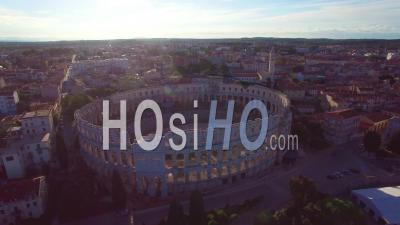 Aerial View Of The Roman Amphitheater In Pula, Croatia - Video Drone Footage