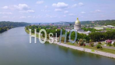 Aerial View Of The Capital Building In Charleston, West Virginia With City Background - Drone Point Of View