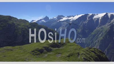 Aerial Sideview Traveling Of The Alps In Summer - Video Drone Footage