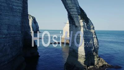 Etretat's Cliff, France, Video Drone Footage