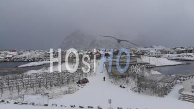 Henningsvaer Famous Soccer Pitch Under The Snow During A Strong Snow Storm - Video Drone Footage