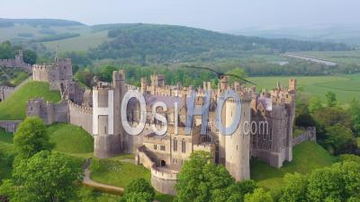 Aerial View Of The Arundel Castle Or Gothic Medievel Palace In West Sussex, England - Video Drone Footage
