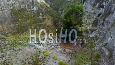 Aerial View Deep Canyon Near Quilotoa, Ecuador Caldera In The Andes Mountains - Video Drone Footage
