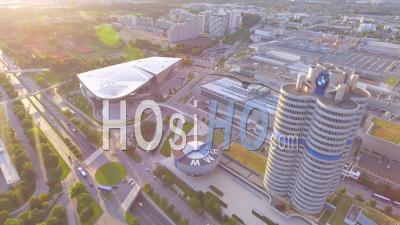 Aerial View Of Bmw Headquarters In Munich, Germany - Video Drone Footage