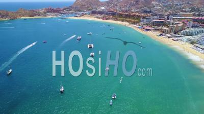 Aerial View Of Cabo San Lucas, Baja California, Mexico Hotels And Resorts Along Coast - Video Drone Footage