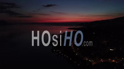 Lights Of Montreux On The Lake Geneva By Night - Video Drone Footage