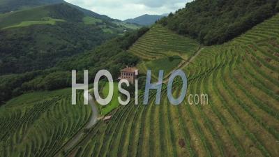 Aerial View Winery Of Etienne Brana Vineyard, Aoc Irouleguy, France - Video Drone Footage
