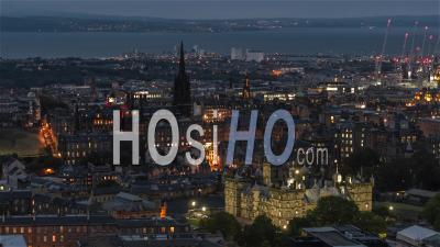 Aerial View Of Edinburgh At Night, Old Town, Scotland, United Kingdom - Video Drone Footage