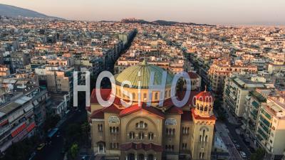 Aerial View Of Athens, Church Of Saint Panteleimon Of Acharnai, Greece - Video Drone Footage
