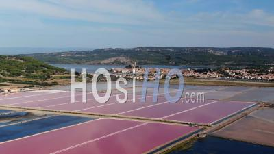 Pink Salt Marsh Of Gruissan, In The Morning Light - Video Drone Footage
