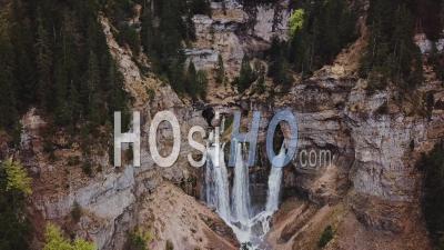 Waterfall Of Cirque De Saint Meme, Filmed By Drone