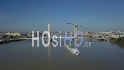Aerial View, Bordeaux, La Cite Du Vin, Tourism Boat And The Wine Museum Of Bordeaux Near To Garonne River. Bordeaux, France
