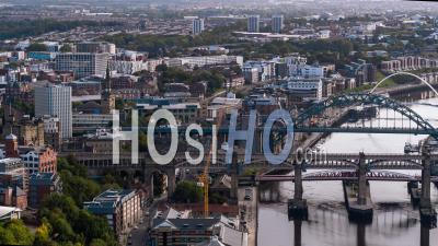 Aerial View Of Newcastle Upon Tyne, England, Great Britain - Video Drone Footage