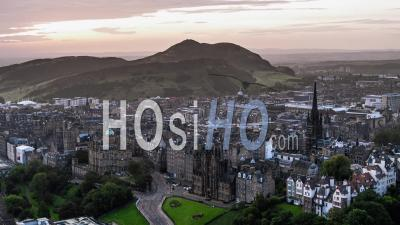Establishing Aerial View Of Edinburgh, Edinburgh Castle, Scotland, United Kingdom - Drone Point Of View