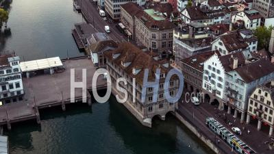 Aerial View Of Zurich, Old Town, Switzerland - Video Drone Footage
