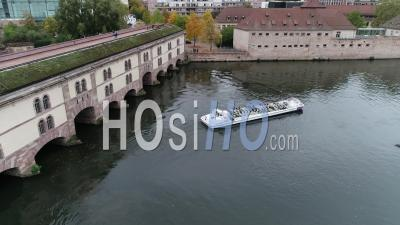Tourist Boat On Ill River At Vauban Dam,Strasbourg - Video Drone Footage