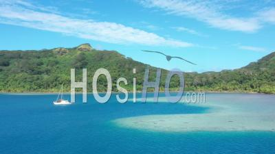 Aerial View Of The Bay Of Bourayne In French Polynesia - Video Drone Footage