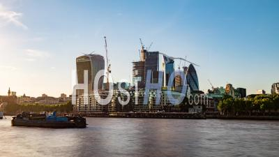 The Skyline Of The City Of London Across The River Thames