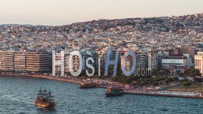 Establishing Aerial View Of Thessaloniki, White Tower, Greece - Video Drone Footage